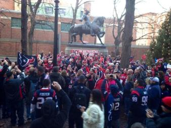 Texans fans represent in Beantown for MNF, 2012.